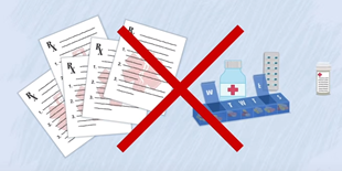 Crossed-out rescriptions and medications